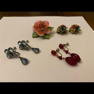 Collection of old fashioned earrings